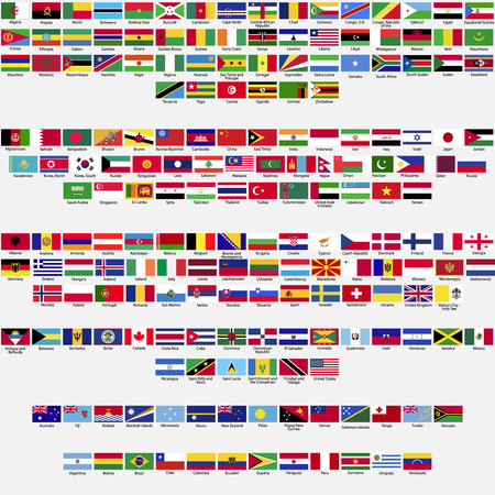 世界、国連によって認識されるすべての国、大陸によってアルファベット順に記載されているコレクションの国旗  イラスト・ベクター素材
