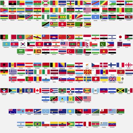 země: Vlajky světa, všechny suverénní státy uznána OSN, sběru, seřazeny abecedně podle kontinentů Ilustrace
