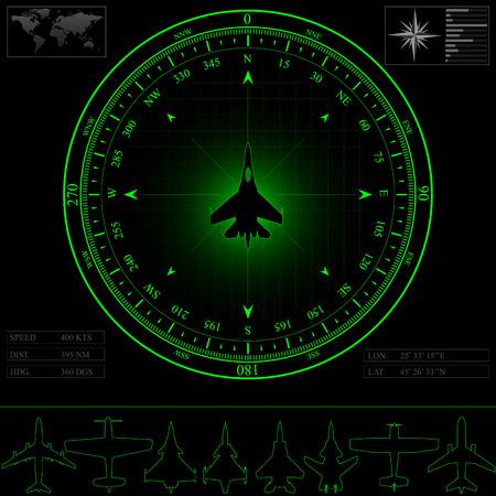 ピストンと周囲のコンパスのジェット戦闘機のジェット旅客機のレーダー スクリーン面オプション