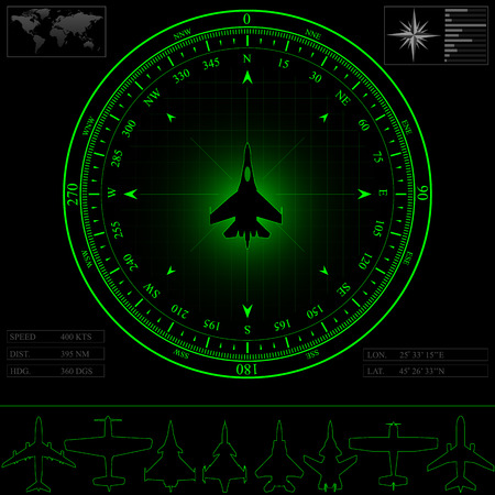 Radar screen with compass surrounding jet fighter  Commercial jets and piston planes optional Vector