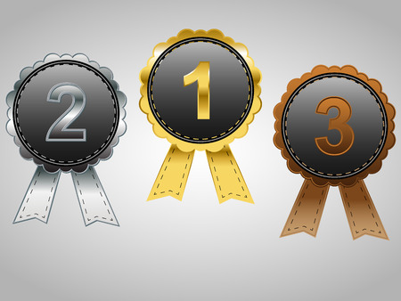 Gold, Silver and Bronze badges with ribbons, for first, second, and third place awards Vector