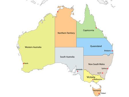 australia: Map of Australia with internal regional boundaries, vector