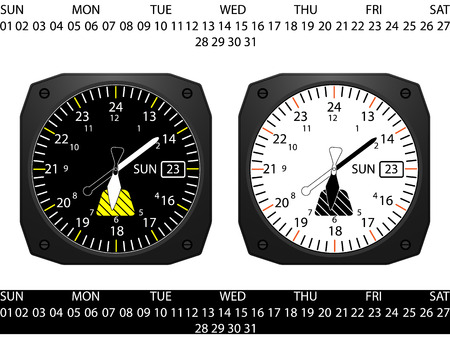 Airplane cockpit instrument clock,with day and date function, vector