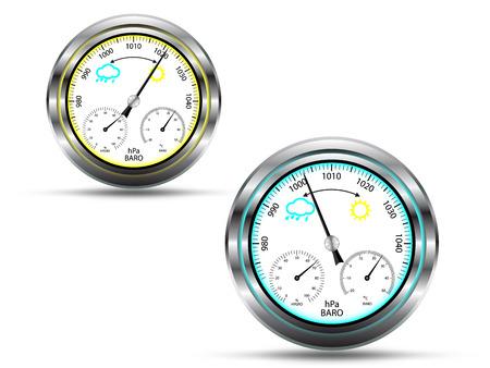 pluviometro: Dos instrumentos barómetro, con indicador de luz en dos colores, dependiendo de la presión del aire, con marco de metal, aislado en blanco, vector