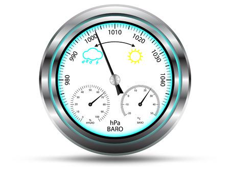 pluviometro: Instrumento Bar�metro, con dos escalas adicionales para la medici�n de la temperatura del aire y la humedad del aire, con marco de metal, aislado en blanco, vector Vectores