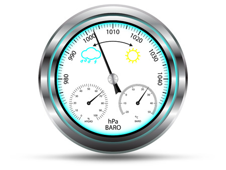 Barometer instrument, with two extra scales for measuring air temperature and air humidity, with metal frame, isolated on white, vector  Illustration