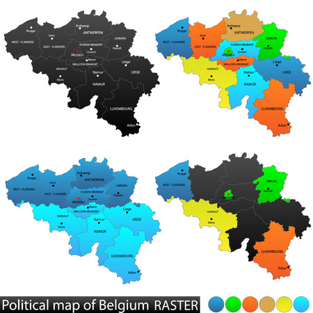 versatile: Political and location map of Belgium  Versatile file, every piece is selectable and editable in layers panel  Turn on and off visibility of every province in one click  Vector Illustration