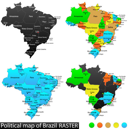 versatile: Political and location map of Brazil  Versatile file, every piece is selectable and editable in layers panel  Turn on and off visibility of every province in one click  Vector, Illustration