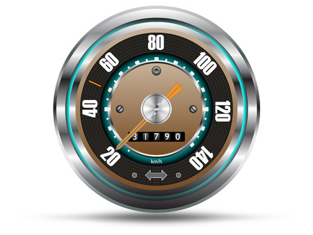 kilometer: Retro style speedometer, with silver chrome frame, isolated on white background