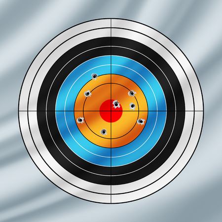 concentric circles: Shooting paper target pierced by bullets, waving in the wind