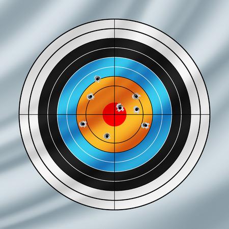 pierced: Shooting paper target pierced by bullets, waving in the wind
