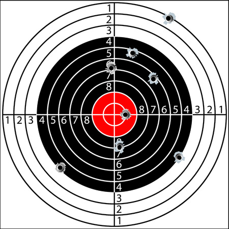 bullseye: Shooting target, with holes pierced by bullets, vector
