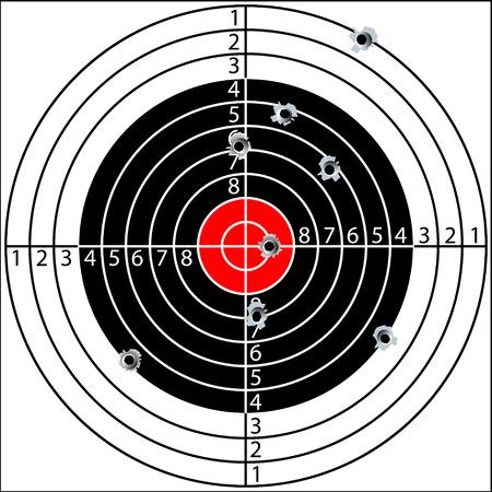 Tiro al blanco, con agujeros perforados por las balas, vector