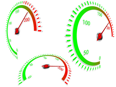 rpm gauge vector. abstract speedometer in three different perspective plains, on white background vector rpm gauge