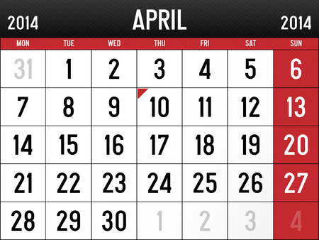 Calendar for April 2014 Vector