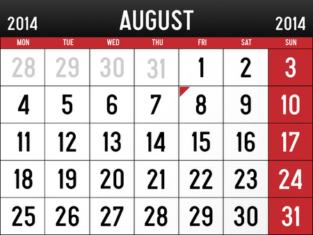 agosto: Calendario per agosto 2014