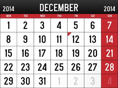 Calendar for December 2014  Vector