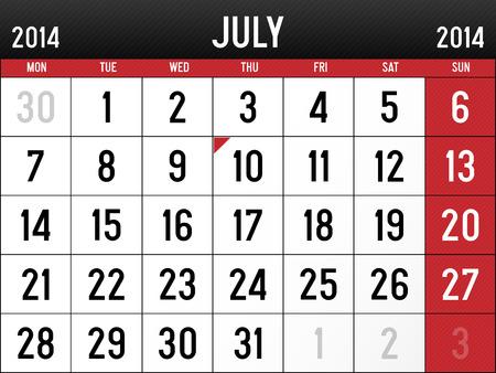 Calendar for July 2014 Vector
