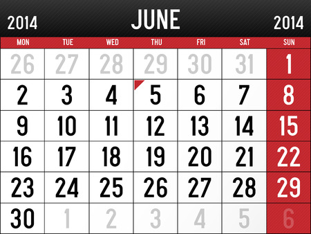 Calendar for June 2014 Vector