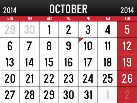 Calendar for October 2014 Vector