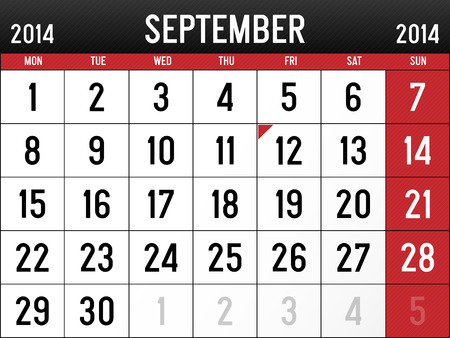 Calendar for September 2014 Vector