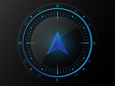 Abstract blue compass with 3 D arrow pointer in the middle, isolated on dark background  Illustration