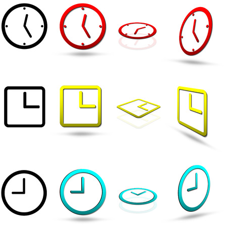 clock icon: Set of twelve clock icons, in various colors, also in normal and perspective views, isolated on white, very easy editable colors, vector
