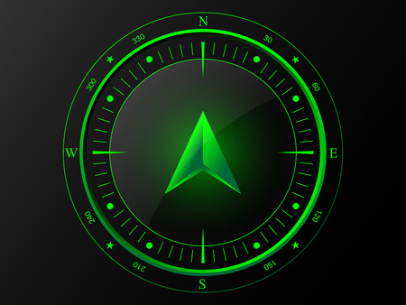 Abstract green compass with 3 D arrow pointer in the middle, isolated on dark background  Vector