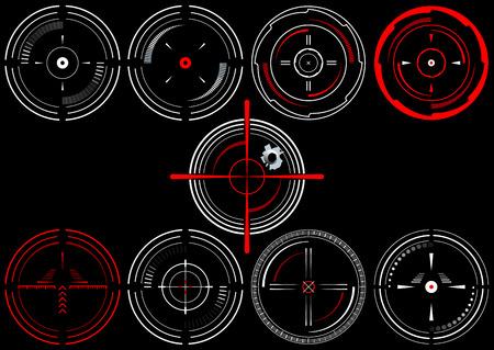 scope: Set of nine abstract cross hairs, on black background Illustration
