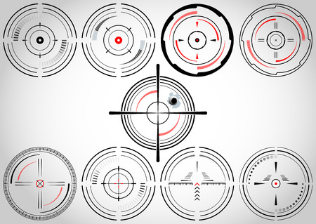 sniper: Set of nine abstract cross hairs  Illustration