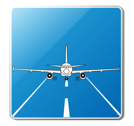 airplane landing: Custom airport sign  Illustration of the jet airplane on the runway, vector
