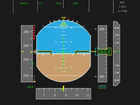 Instrumentos del avión digital vectorial