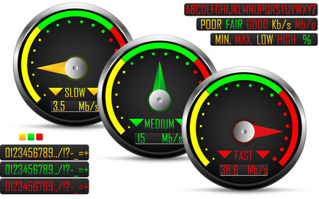 high speed internet: Internet speed test meter, with three needle positions,vector
