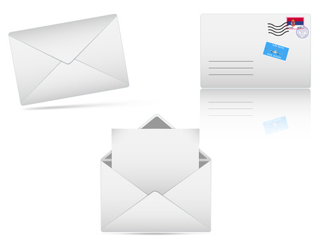 post box: Set of vector envelopes, closed and opened with blank paper inside