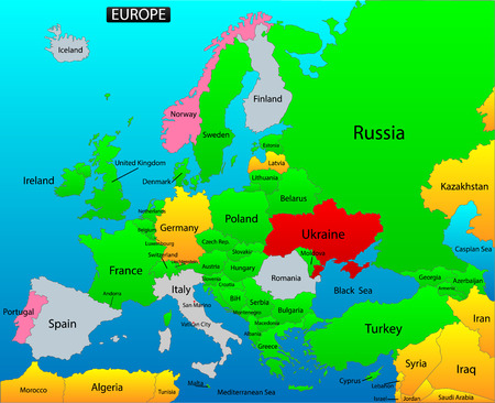 versatile: Location map of European continent  Versatile file, easy editable color and visibility of every state in one click in layers panel  Vector