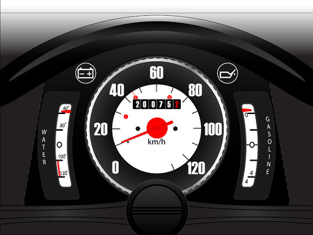 mileage: Retro car dashboard with part of steering wheel