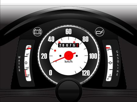 car dashboard: Retro car dashboard with part of steering wheel
