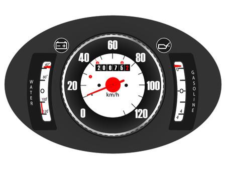 Retro car dashboard  vector   Vector