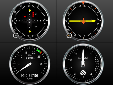 gauges: Airplane flying instruments