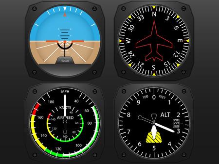 navigazione: Aereo strumenti di volo di vettore Vettoriali