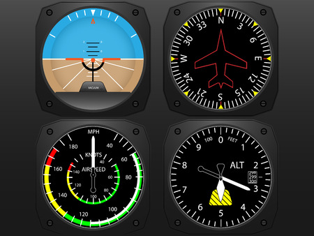 instrument panel: Airplane flying instruments vector