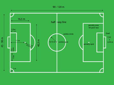 corner kick: Bird-eye view of soccer  football  field, with metric dimensions  Illustration