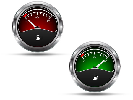 empty tank: Fuel gauges, empty and full position needle, isolated on white background, vector