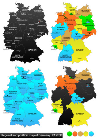 versatile: Political and location map of Germany  Versatile file, every piece is selectable and editable in layers panel  Turn on and off visibility of every province in one click  Vector, eps 10  Illustration