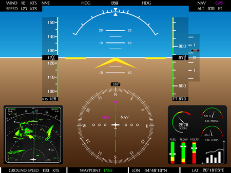 Airplane glass cockpit display with weather radar and engine gauges  Illustration