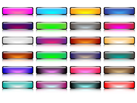 glossy buttons: Tasti lucidi con vettore riflessione liscia, parte 2 Vettoriali
