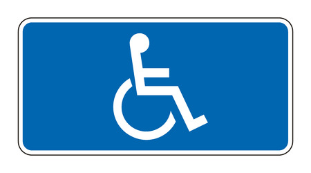 Blue rectangle handicapped sign with wheelchair, isolated on white, vector