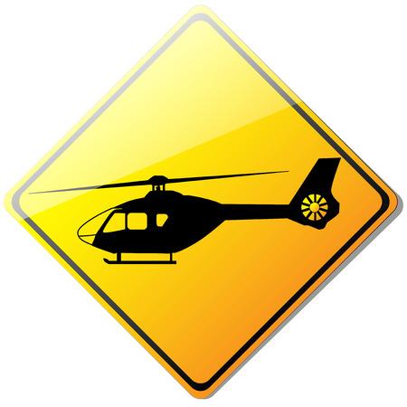 helipad: Yellow helicopter or helipad sign, vector