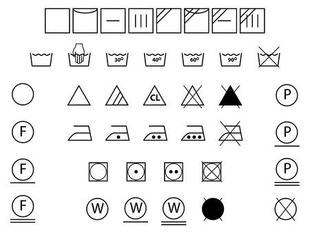 laundry symbol: Laundry symbols for washing,drying,bleaching,ironing  Illustration