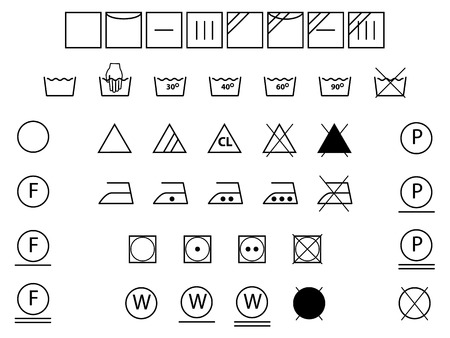 Laundry symbols for washing,drying,bleaching,ironing  Illustration